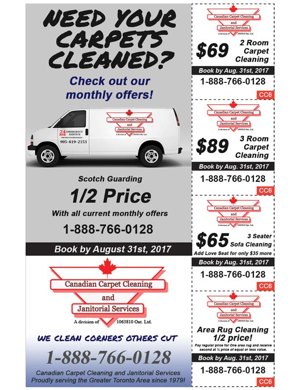 Carpet Cleaning Specials August 2017